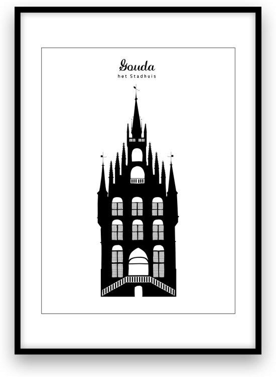 Gouda stadposter - Zwart-wit