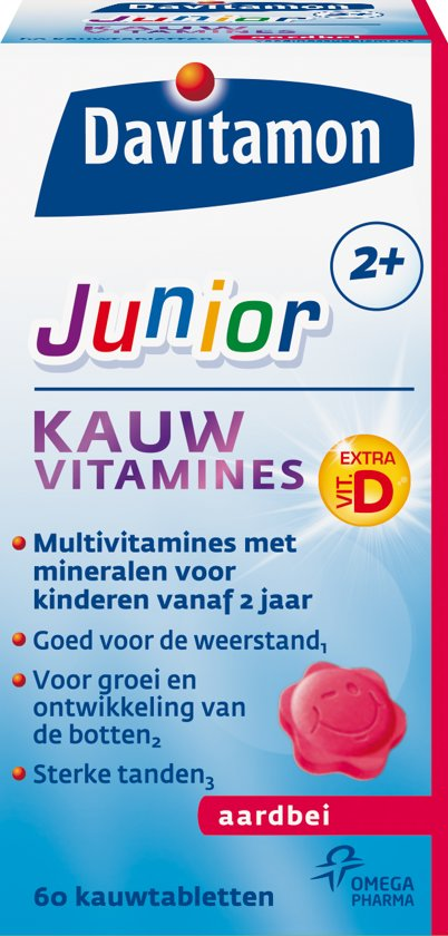Davitamon Junior 2+ Kauwvitamines - Aardbei - 60 Kauwtabletten - Multivitamine