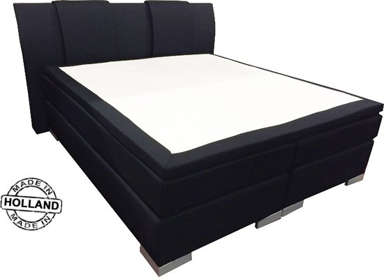 Slaaploods.nl Zeus - Boxspring inclusief matras - 140x200 cm - Zwart