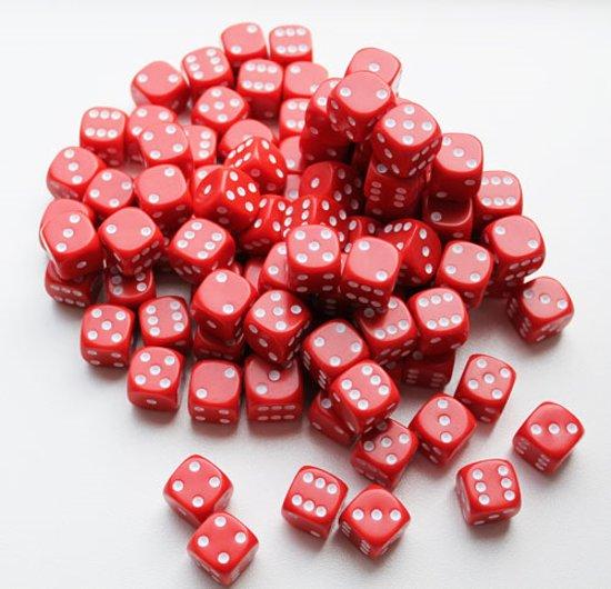 Afbeelding van het spel Dobbelstenen 16mm - Rood (100 stuks)
