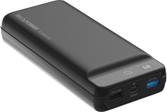 RealPower PB-30K PD powerbank 30.000 mAh met USB-C PD display zwart
