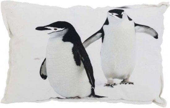 Bol kussen cm penguin print wit zwart