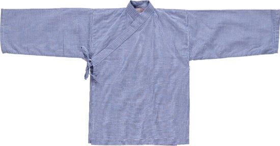 Lucky Wang NY Jongens Wit met Blauw ruitje ls - LW117 - Maat 92