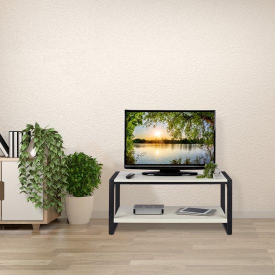 Tv Kast Zwart Wit.Bol Com Relaxdays Salontafel Tv Meubel 2 Etages