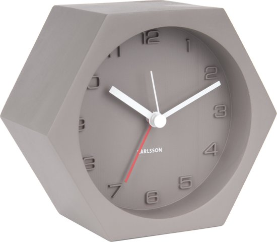 Karlsson Hexagon Concrete Wekker 11,5 x 10 cm