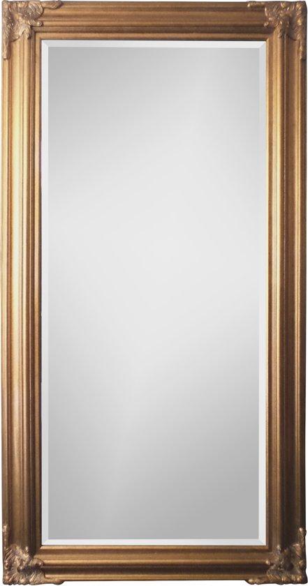 Spiegel - Paola- antiek goud - buitenmaten breed 90 cm x hoog 120 cm.