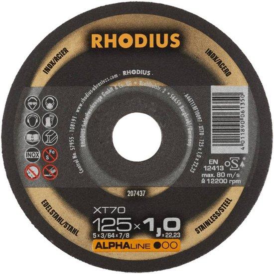 10 stuks Rhodius XT70 doorslijpschijven voor Staal / RVS 125x1,0mm