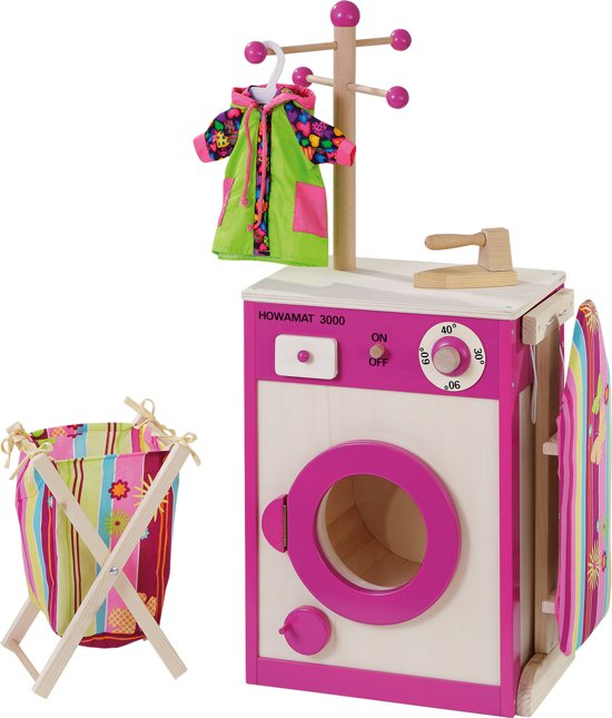 howa Houten Speelgoed Wasmachine met strijkplank, mand en strijkijzer 4814