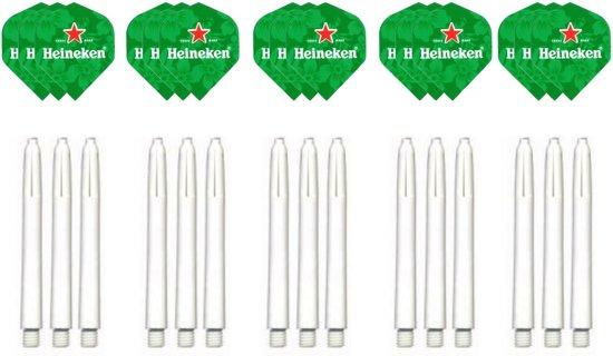 Dragon darts - 15 stuks Heineken - darts flights - inclusief 15 stuks medium - darts shafts - wit