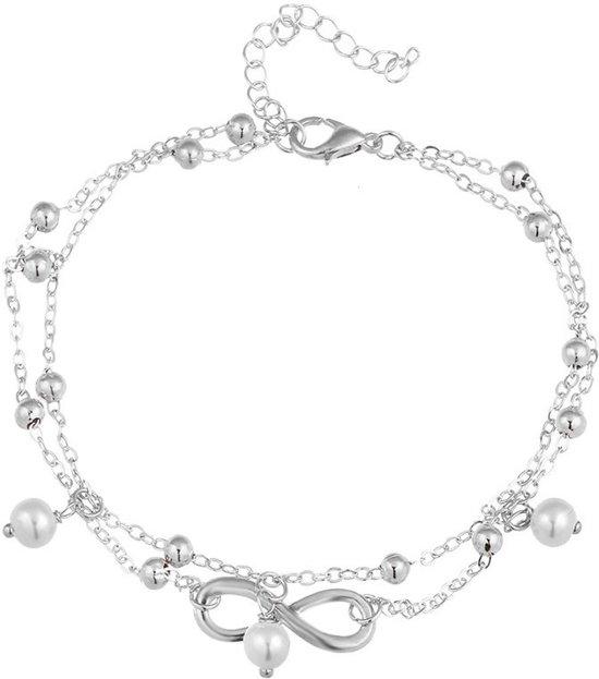 Fako Bijoux® - Enkelbandje - Infinity Parel Duo - Zilverkleurig