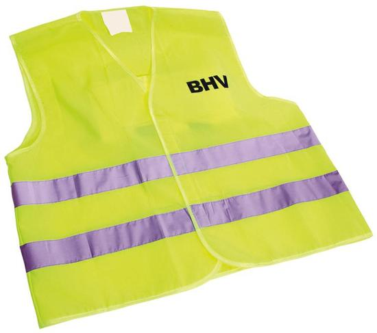 CH Brandbeveiliging - Veiligheidsvest Geel opdruk BHV  in tasje