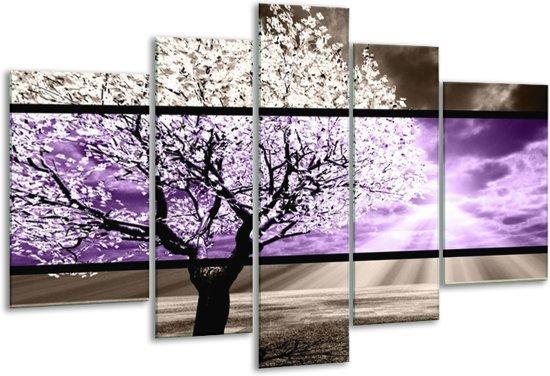 Glasschilderij Boom | Paars, Groen, Zwart | 170x100cm 5Luik | Foto print op Glas |  F004460