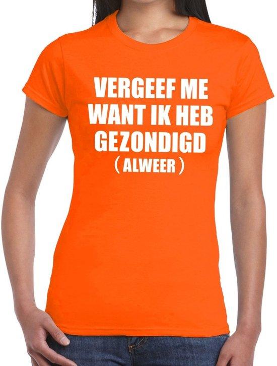 Vergeef me tekst t-shirt oranje dames L