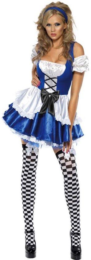 Alice in wonderland jurkje maat 40-42 - Sexy blauw wit kostuum