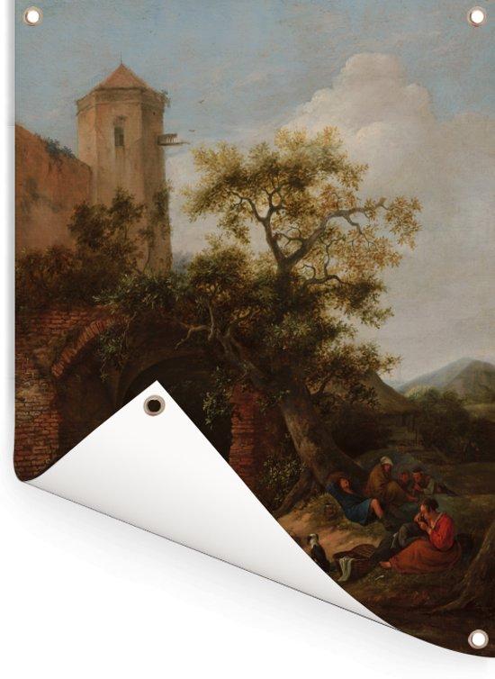 De waarzegster - Schilderij van Jan Steen Tuinposter 120x160 cm - Tuindoek / Buitencanvas / Schilderijen voor buiten (tuin decoratie) XXL / Groot formaat!
