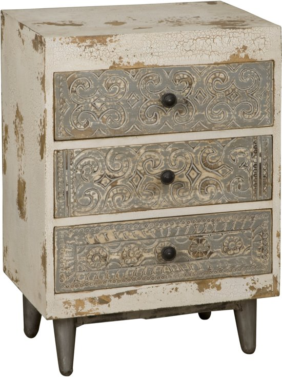 Ladenkastje White Wash.Bol Com Vintage Ladenkast Met 3 Laden Whitewash Bangkok