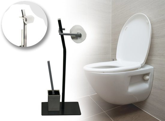 HomeLine Toiletrolhouder - Antraciet - Zilver - Staal - 20 x 30 x 71 CM