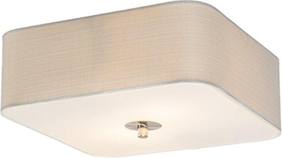 QAZQA Drum Deluxe 30 - Plafondlamp met lampenkap - 2 Lichts - 30 cm - wit
