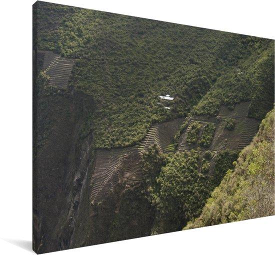 Terrassen in de verwoeste stad van de Inca's Choquequirao in Peru Canvas 90x60 cm - Foto print op Canvas schilderij (Wanddecoratie woonkamer / slaapkamer)