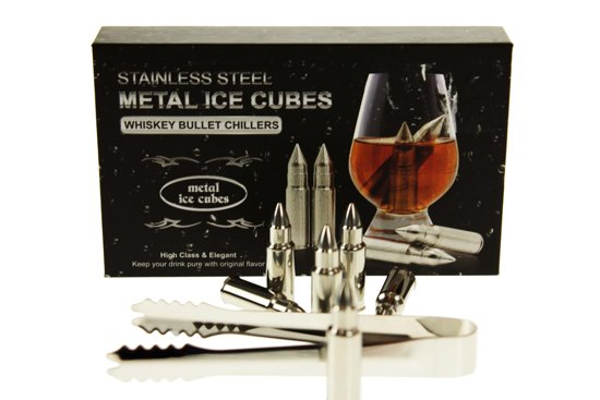 Ijsblok vervanger Kogel - Whisky Stones Bullets - Set van 6