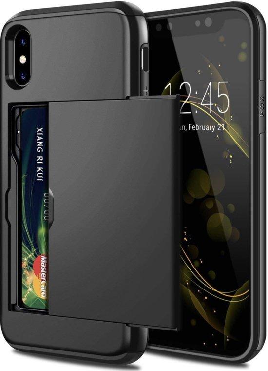 Luxe Xtreme Shockproof Cardslot Card Case voor Apple iPhone X   iPhone XS   Hoogwaardig TPU Siliconen - Hard PC hoesje   Back Cover   Wallet   Kaarthouder   Zwart