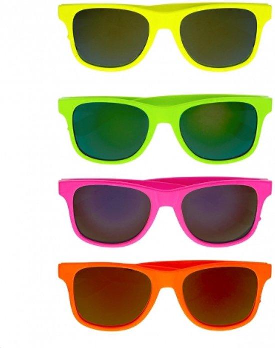 Gekleurde retro zonnebril  Fluoriserend geel