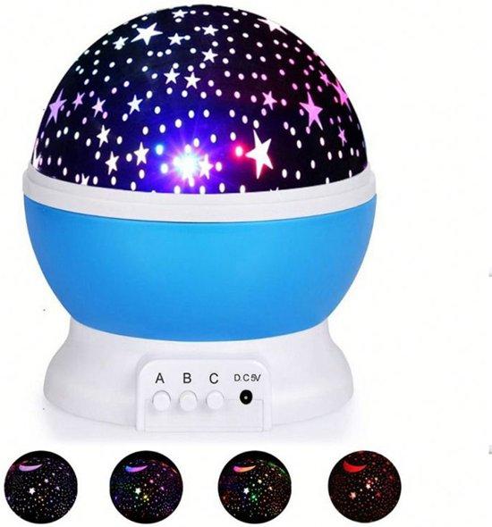 Sterrenhemel Verlichting Kinderkamer - Moon Light Projector - Nachtlampje kind   baby - Nachtlamp - Snoezellamp - Spacelamp - Cadeau kind + Bijbehorende oplaadkabel - Inclusief batterijen (blauw)