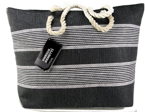 Enrico Benetti Strand Tas Shopper Trendy Nautische strepen Zwart met rits