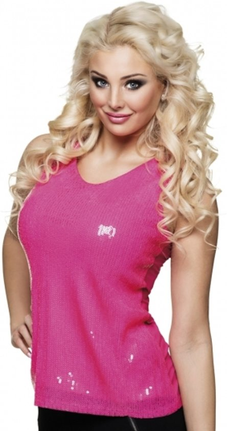 Top bol.com | Dames top roze met pailletten - glimmend dames shirt  #VU29