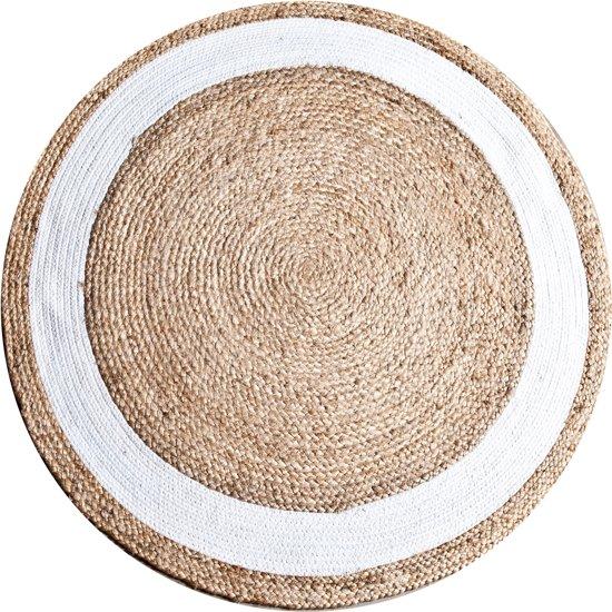 Karpet jute rond 120 cm wit