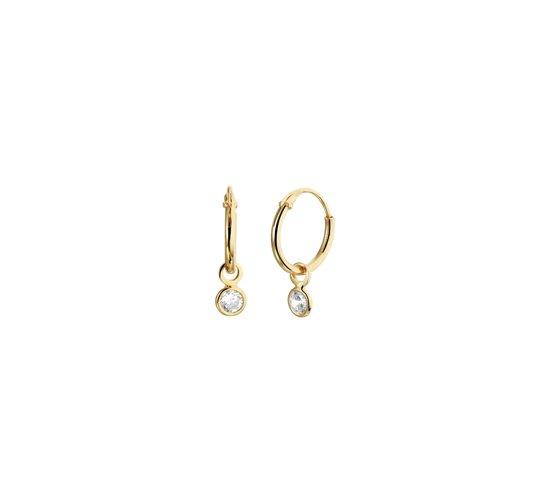 The Fashion Jewelry Collection Oorringen Met Hangers Zirkonia - Zilver Geelgoudverguld