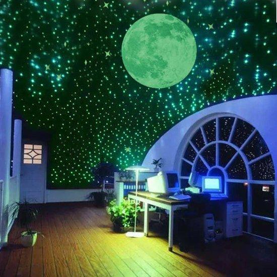 Mooi lichtgevende maan en sterrenhemel in een studeerkamer.