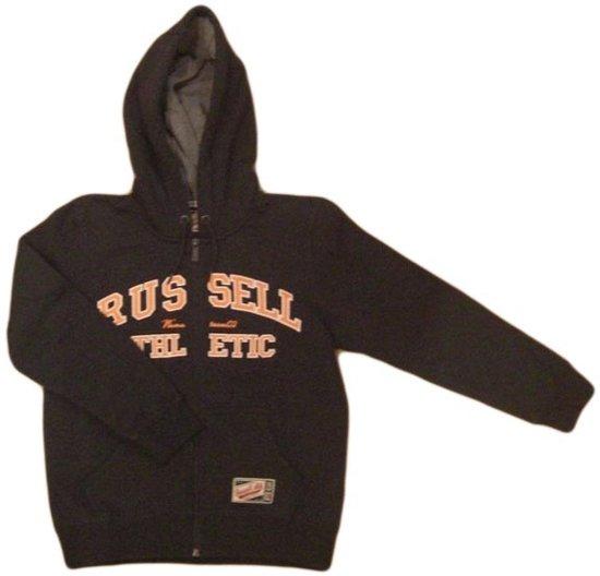 Russell Athletic Zip hooded tracksuit - Sporttrui - Kinderen - Maat 152 - Antraciet Grijs/Oranje
