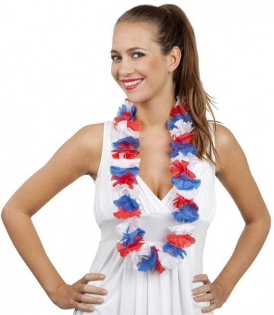 12 Hawaii kransen rood/wit/blauw  - Nederland / koningsdag
