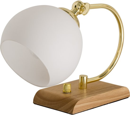 bol bloomingville tafellamp hout glas wit metaal