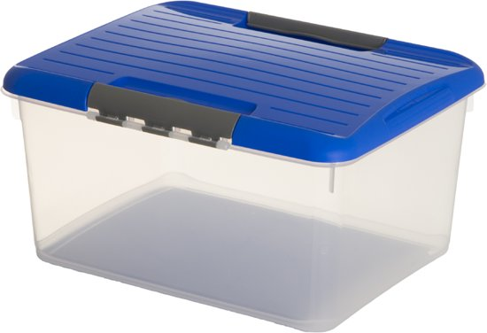 Curver Optima Opbergbox - 33 l - Transparant / Blauw
