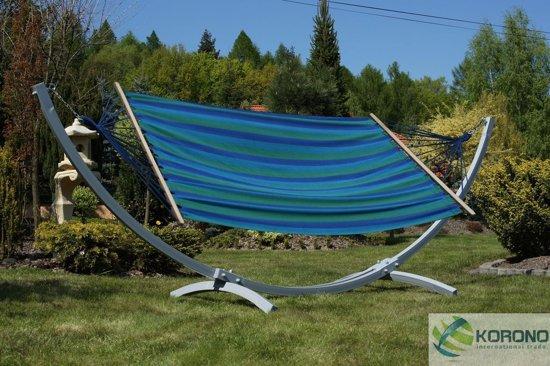Luxe blauwe hangmat met standaard