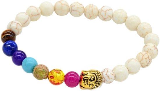 Fako Bijoux® - Buddha Armband - Chakra Reiki - Crème - Goudkleurig