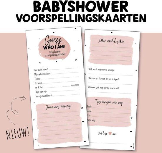 Babyshower voorspellingskaarten | invulkaarten roze