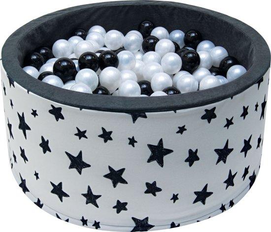 Ballenbak | Wit met zwarte sterren incl.  200 witte en zwarte ballen