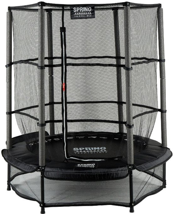 spring trampoline 140 cm met veiligheidsnet black edition zwarte rand. Black Bedroom Furniture Sets. Home Design Ideas