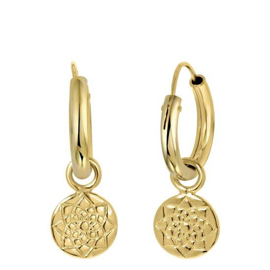 Lucardi - Goldplated oorbel hanger rond/bloem