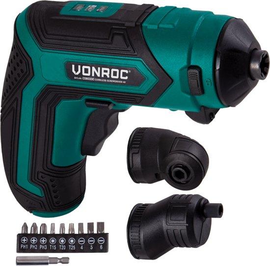 VONROC Accu Schroefmachine/Schroevendraaier - 4V, inclusief magnetische bithouder, excentrisch opzetstuk, haaks opzetstuk, bitset en acculader