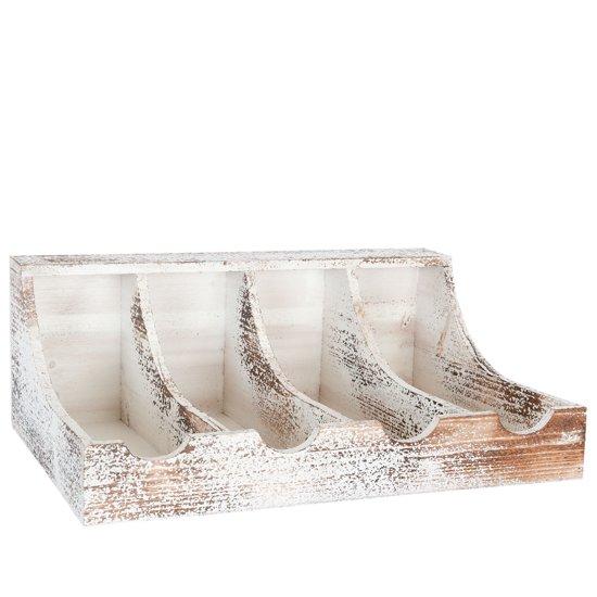 Bol.com 6h0783 houten rek bestek 40 x 29 x 15 cm hout wit