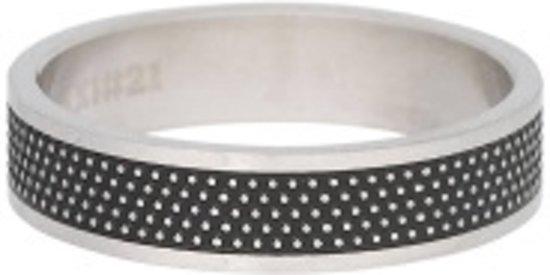 iXXXi Heren Vulring 6mm Row Dots Mat zilverkleurig en zwart - maat 20