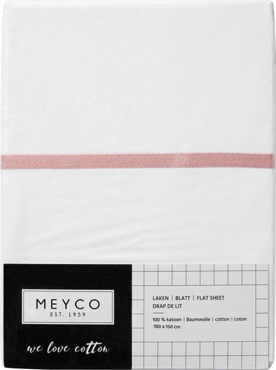 Meyco wieglaken wit met bies - 75 x 100 cm - oudroze