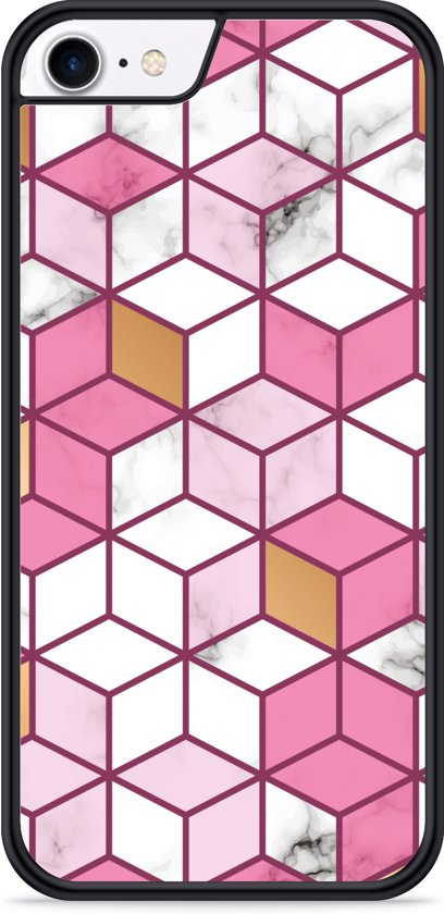 iPhone 8 Hardcase hoesje Pink-gold-white Marble