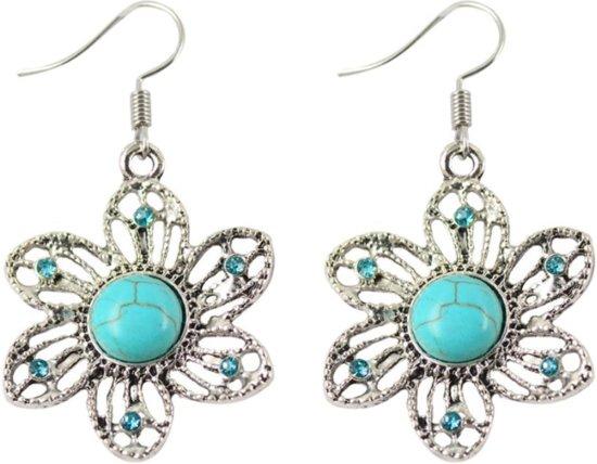 Fako Bijoux® - Oorbellen - Tibetaanse Stijl - Turquoise - Bloem