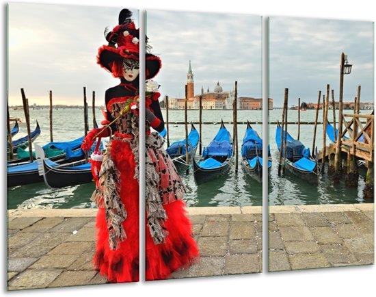 Glas schilderij Venetië, Masker | Rood, Blauw, Grijs | 120x80cm 3Luik | Foto print op Glas |  F007115