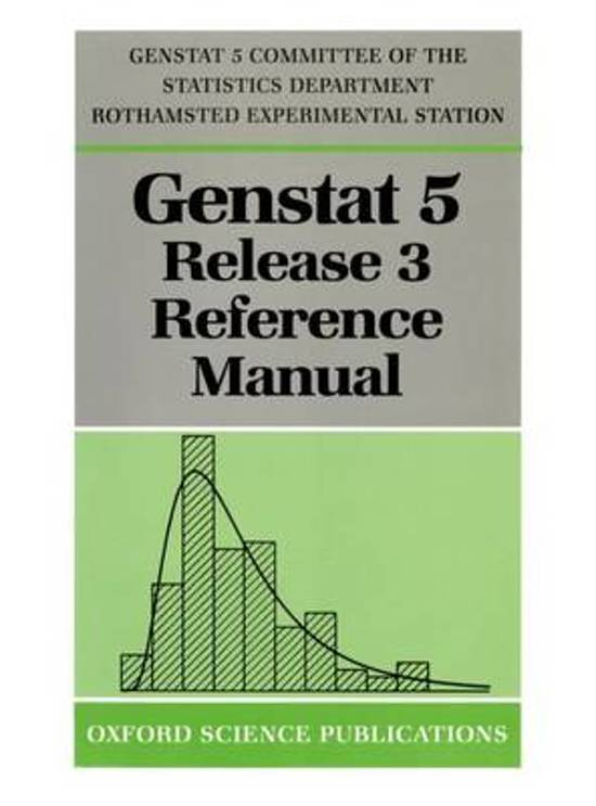 GenstatTM 5 Release 3 Reference Manual